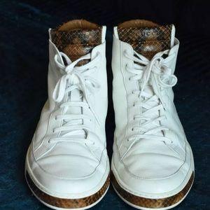 7a40567174e Gucci Shoes - Gucci python snake skin white leather hi top